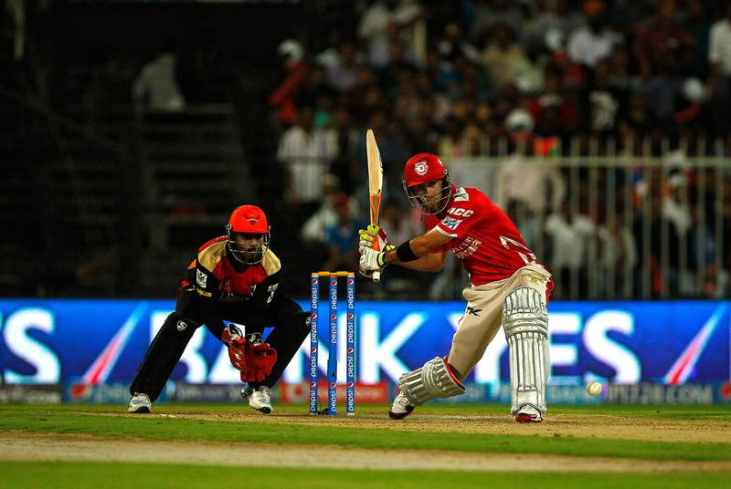 Sharjah, United Arab Emirates - April 22, 2014.  Glen Maxwell ( number 32 of Kings XI Punjab ) bats against Sunrisers Hyderabad at the ongoing IPL Cricket match.  ( Jeffrey E Biteng / The National )  Editor's Note; Ahmed R reports.