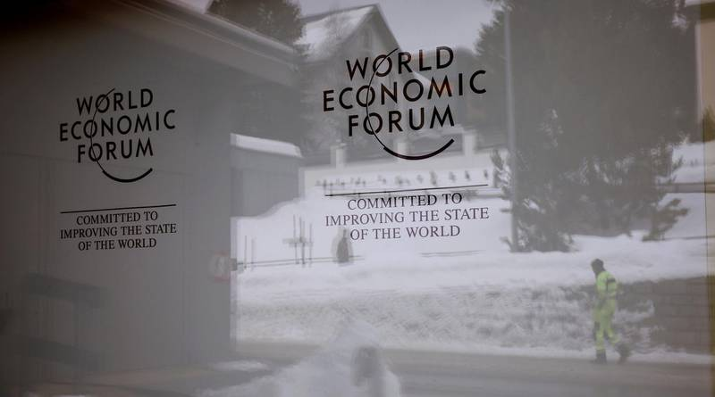 The logo of the World Economic Forum (WEF) is seen the congress centre in the Swiss mountain resort of Davos, Switzerland, January 11, 2018  REUTERS/Arnd Wiegmann
