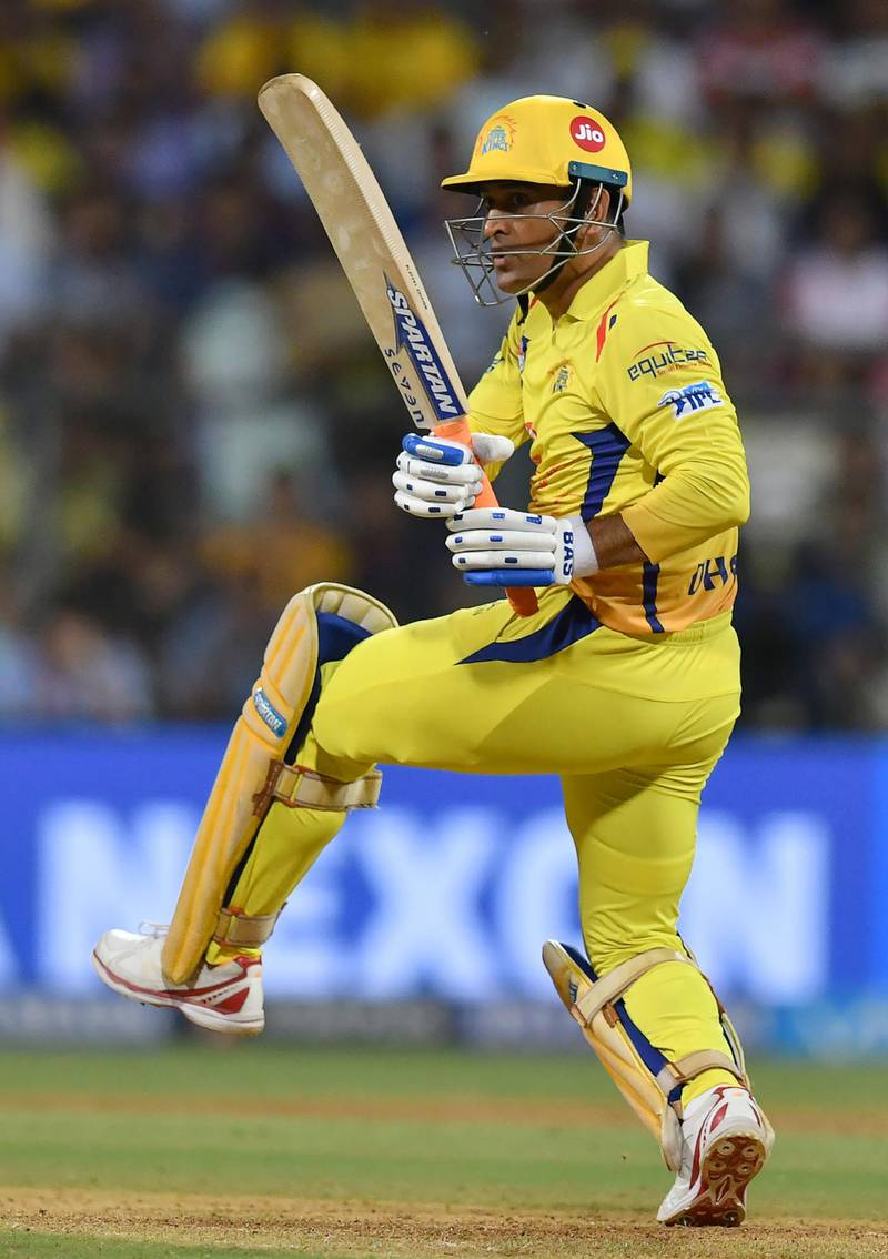Chennai Super Kings captain MS Dhoni plays a shot during the 2018 Indian Premier League (IPL) Twenty20 first qualifier cricket match between Chennai Super Kings and Sunrisers Hyderabad at the Wankhede Stadium in Mumbai on May 22, 2018. / AFP PHOTO / PUNIT PARANJPE / ----IMAGE RESTRICTED TO EDITORIAL USE - STRICTLY NO COMMERCIAL USE----- / GETTYOUT