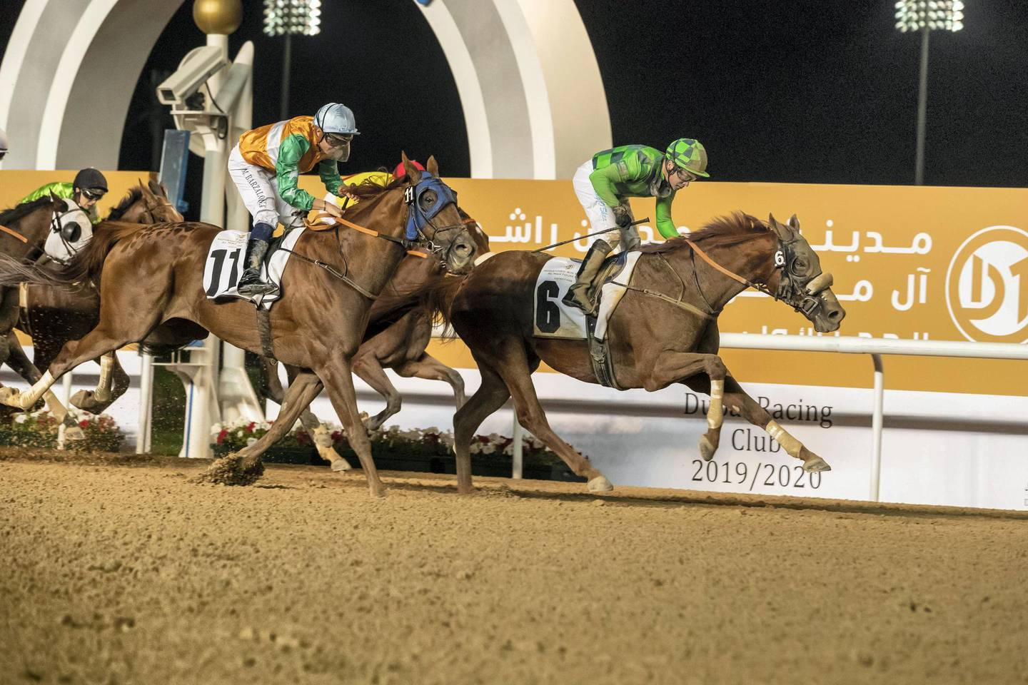 DUBAI, UNITED ARAB EMIRATES. 04 JANUARY 2020. Fourth Race of the Seventh Race Meeting, District One Lagoon Run. Winner Nr 6, Immortalised (GB) 6yrs ridden by Tadhg O'Shea. (Photo: Antonie Robertson/The National) Journalist: Amith Passela. Section: Sport.