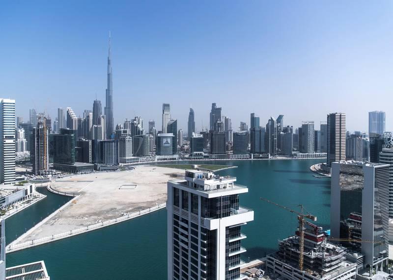DUBAI, UNITED ARAB EMIRATES. 29 OCTOBER 2019. Dubai skyline seen from Deyaar properties on Business Bay.(Photo: Reem Mohammed/The National)Reporter:Section: