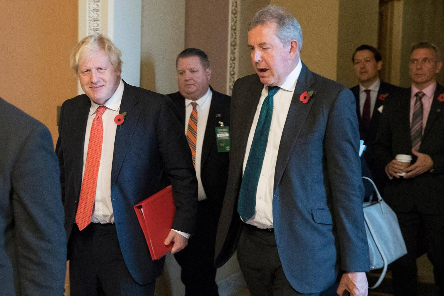 epa07707162 (FILE) - Then British Foreign Secretary Boris Johnson (L) walks with British Ambassador to the United States Sir Kim Darroch (R) following a meeting on Capitol Hill in Washington, DC, USA, 08 November 2017 (reissued 09 July 2019). According to media reports, Darroch has quit as British ambassador to the US after emails were leaked from Darroch, calling US President Trump's administration inept.  EPA/MICHAEL REYNOLDS