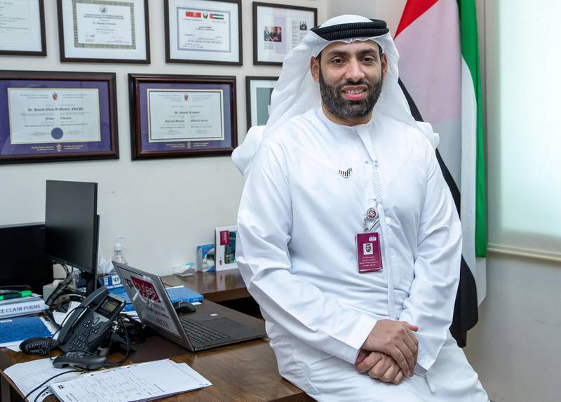 Portrait of Dr. Humaid Al Shamsi at his clinic atBurjeel Medical City, Abu Dhabi on May 19th, 2021. Victor Besa / The National.Reporter: Nick Webster for News