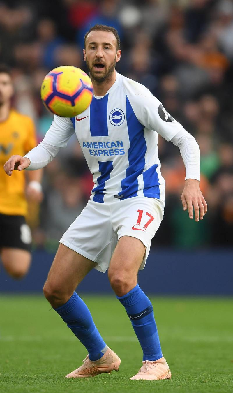 BRIGHTON, ENGLAND - OCTOBER 27: Glenn Murray of Brighton & Hove Albion in action during the Premier League match between Brighton & Hove Albion and Wolverhampton Wanderers at American Express Community Stadium on October 27, 2018 in Brighton, United Kingdom. (Photo by Mike Hewitt/Getty Images)