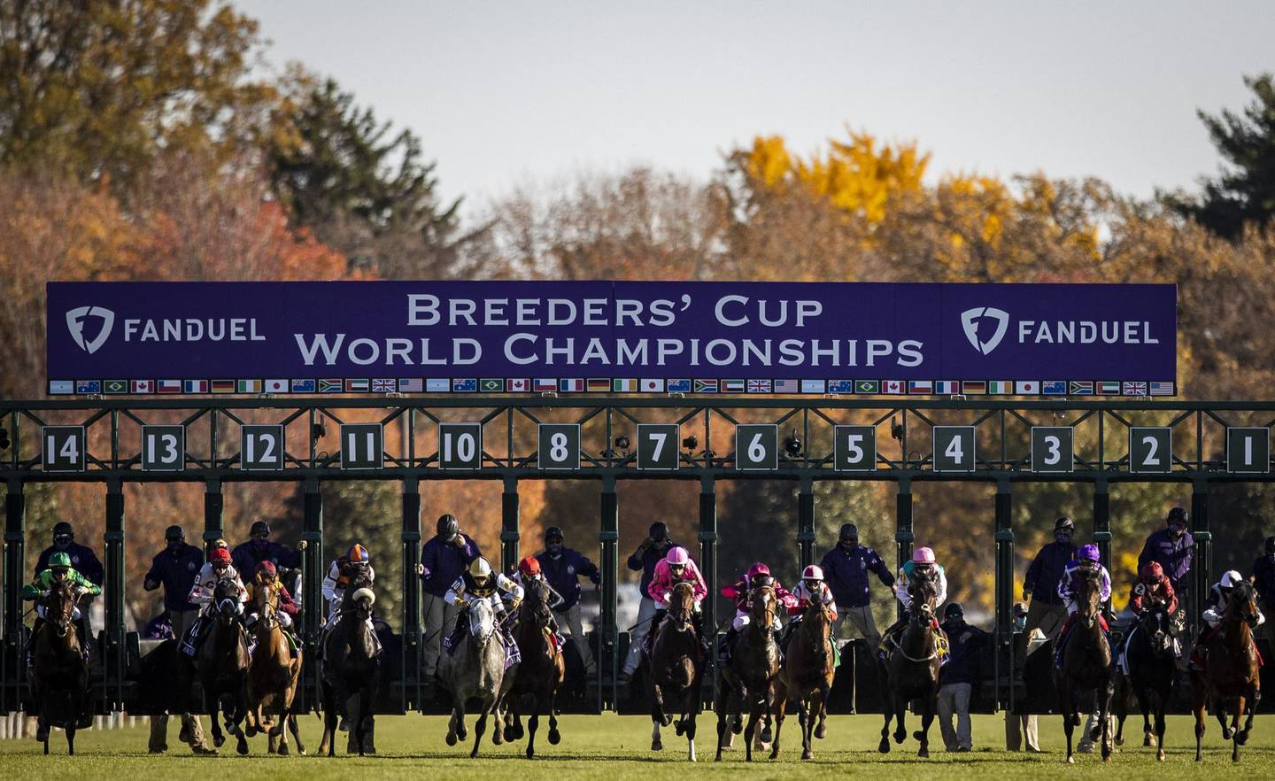 LEXINGTON, KY - NOVEMBER 07: The horses leave the gate at the start of the Breeders Cup Mile at Keenland on November 6, 2020 in Lexington, Kentucky.   Bobby Ellis/Getty Images/AFP***Local Caption*** == FOR NEWSPAPERS, INTERNET, TELCOS & TELEVISION USE ONLY ==