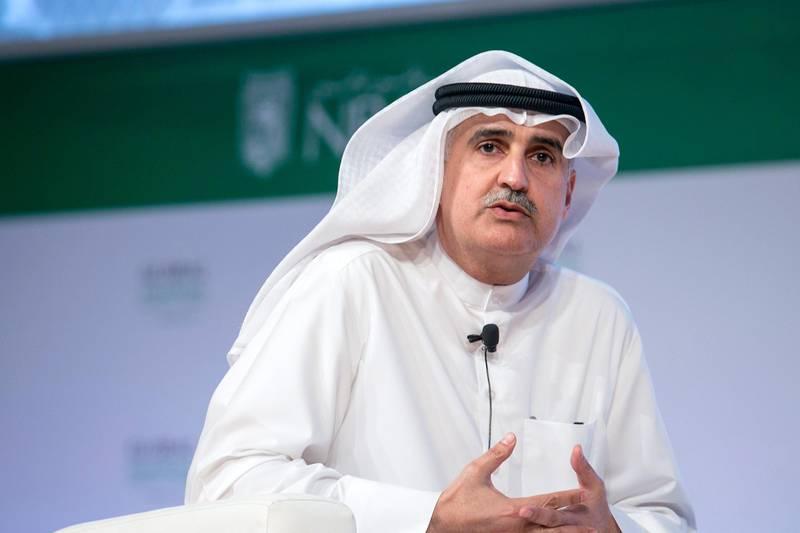 ABU DHABI, UNITED ARAB EMIRATES, Mar. 1, 2015:   Nizar M. al Adsani, Deputy Chairman of the board of Directors, and Chief Executive Officer of Kuwait Petroleum Corporation (KPC), talks during a panel discussion 'The Future of Energy' at the Global Financial Markets Forum on Sunday, Mar. 1, 2015, at Emirates Palace in Abu Dhabi. (Silvia Razgova / The National)  (Usage: March 1, 2015, Section: BIZ, Reporter: Dania Al Saadi, Mahmoud Kassem) *** Local Caption ***  150301-GFMF24.jpg
