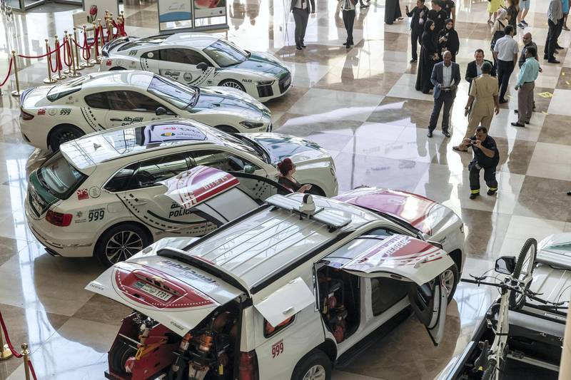 DUBAI, UNITED ARAB EMIRATES. 12 November 2019. The Dubai Police stand at the Dubai Motor Show opening day. (Photo: Antonie Robertson/The National) Journalist: Nic Webster. Section: National.