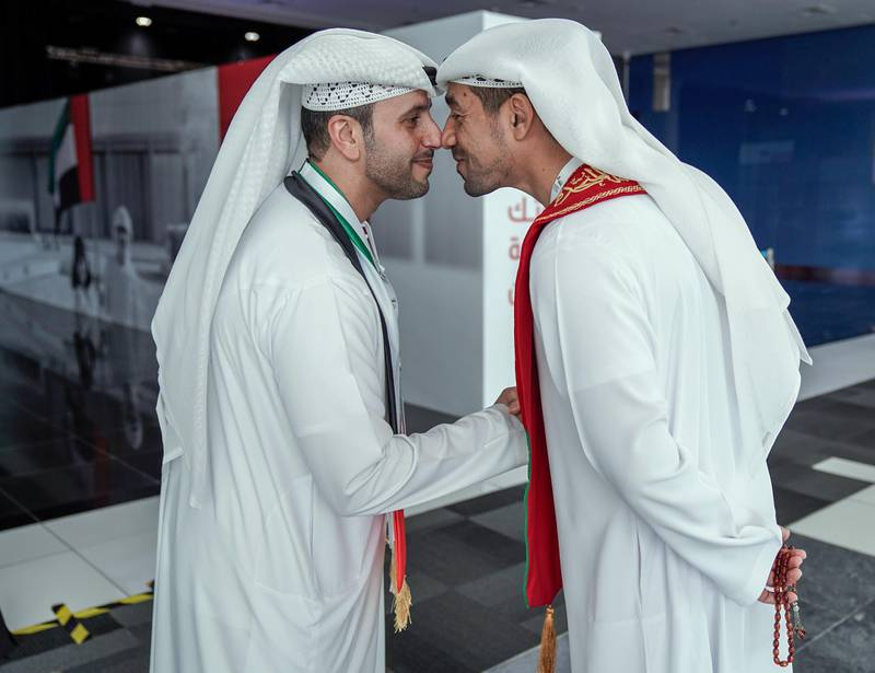 Abu Dhabi, United Arab Emirates, October 5, 2019.  FNC Elections at ADNEC. -- Friends greet each other before entering the hall to cast their votes.Victor Besa / The NationalSection:  NAReporter:  Haneen Dajani