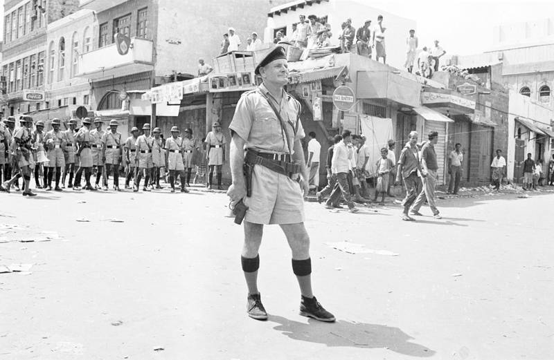 A British soldier in the Crater (or Kraytar) district of Aden, Yemen, during a period of civil conflict and rioting, 4th October 1965.  (Photo by Norman Potter/Express/Getty Images)