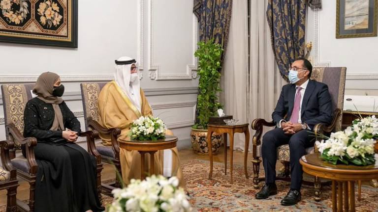 An image that illustrates this article Egyptian PM welcomes Emirati ministers to Cairo