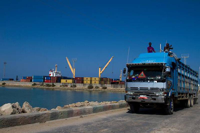 BERBERA, Somalia, DECEMBER 5: Truck carrying cargo drives through the port of Berbera in the autonomous Somaliland that one day hopes to gain independence from war-torn Somalia. (Photo by Paul Schemm for The Washington Post via Getty Images)