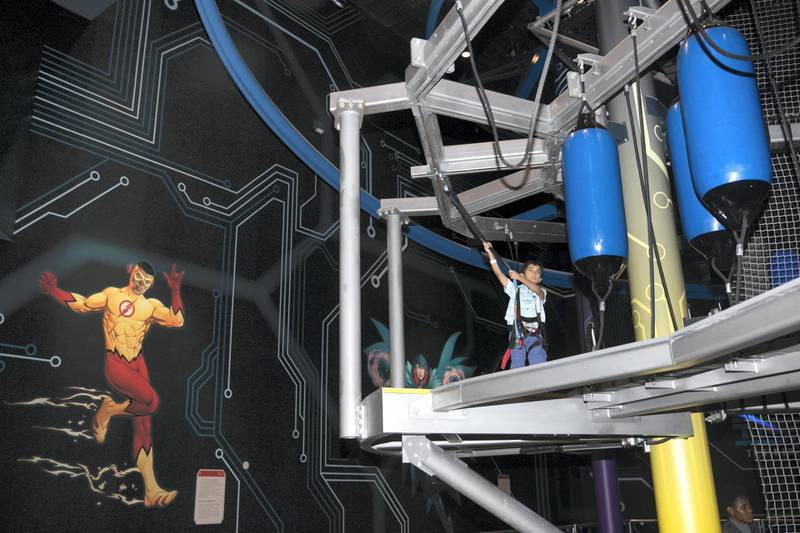 ABU DHABI, UNITED ARAB EMIRATES - JULY 24, 2018. Metropolis land in Warner Bros World Abu Dhabi.Almost 15,000 tickets for Warner Bros World Abu Dhabi have been sold ahead of opening to the public on Wednesday.(Photo by Reem Mohammed/The National)Reporter: Section: NA + AL