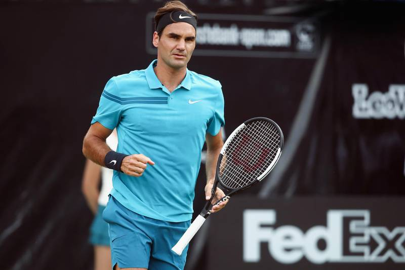 STUTTGART, GERMANY - JUNE 15:  Roger Federer of Switzerland celebrates a point during his match against Guido Pella of Argentina during day 5 of the Mercedes Cup at Tennisclub Weissenhof on June 15, 2018 in Stuttgart, Germany.  (Photo by Alex Grimm/Getty Images)