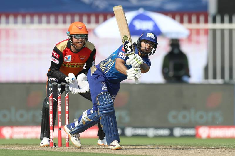 Ishan Kishan of Mumbai Indians bats during match 17 of season 13 of the Dream 11 Indian Premier League (IPL) between the Mumbai Indians and the Sunrisers Hyderabad held at the Sharjah Cricket Stadium, Sharjah in the United Arab Emirates on the 4th October 2020. Photo by: Deepak Malik  / Sportzpics for BCCI