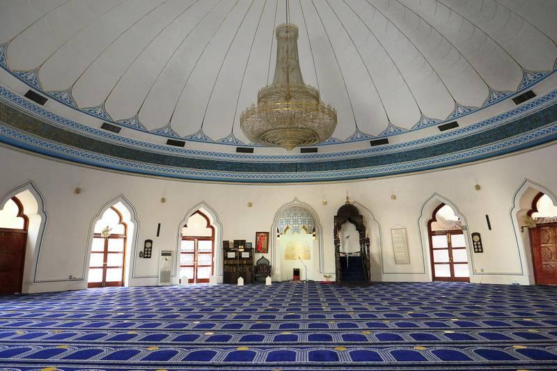 DUBAI , UNITED ARAB EMIRATES , April 13  – 2021 :- Inside view of the Omar Ali Bin Haider Mosque in Deira Dubai. ( Pawan Singh / The National ) For News/Online/Instagram. Story by Sarwat
