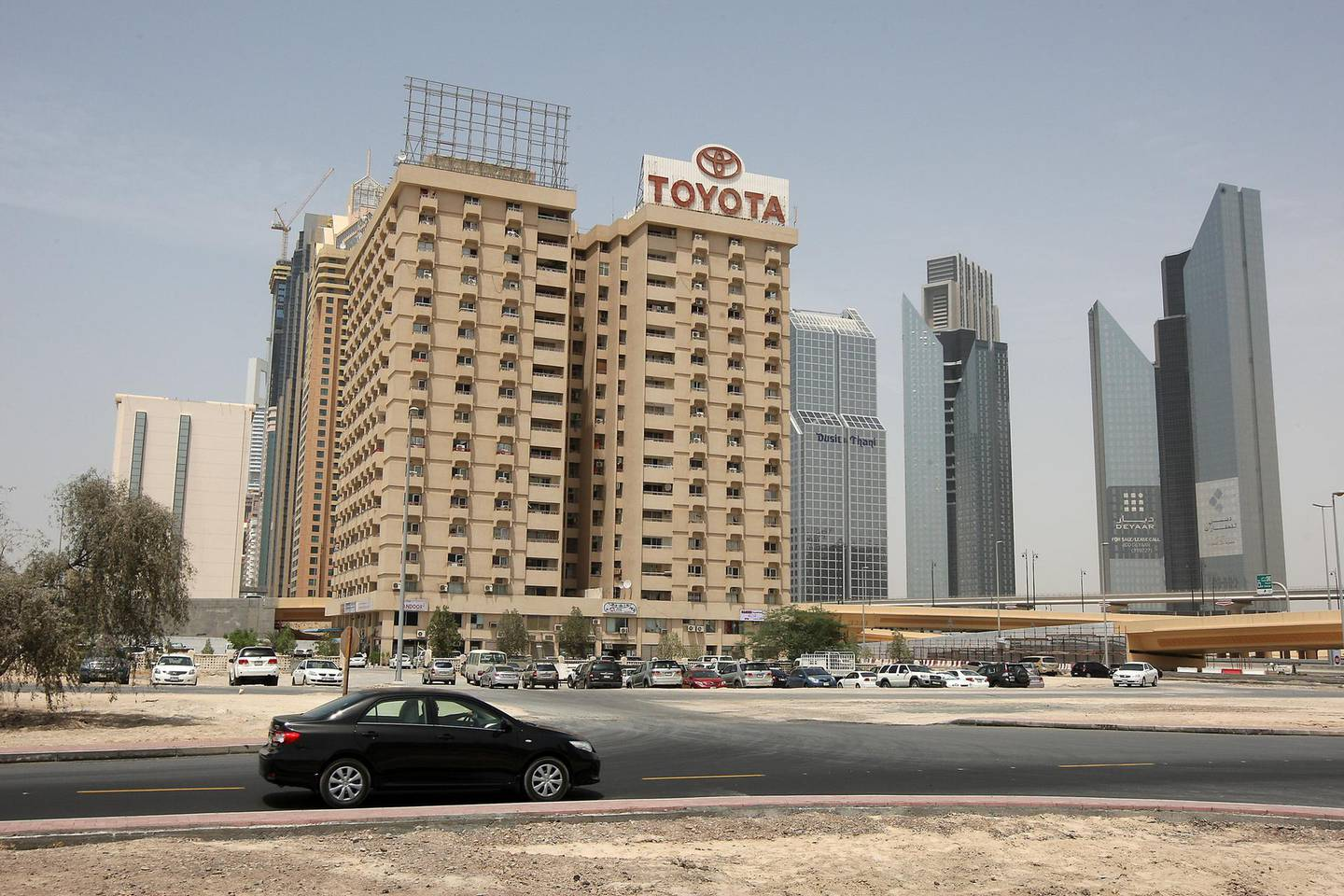 DUBAI , UNITED ARAB EMIRATES Ð MAY 9 : Outside view of the Toyota building near the Defense roundabout on Sheikh Zayed road in Dubai. ( Pawan Singh / The National ) For Summer series modern icons. Story by Martin.