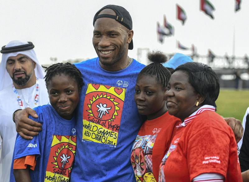 Abu Dhabi, United Arab Emirates - Didier Yves Drogba Tebily, an Ivorian retired profession footballer swooned his girl fans at the Unified Sports Experience at Zayed Sports City. Khushnum Bhandari for The National