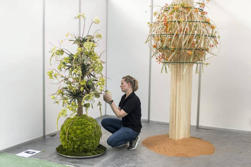 DUBAI, UNITED ARAB EMIRATES - Feb 22, 2018.Ilona OoStenveld, Netherlands, floral arrangements at Dubai International Flower Festival.(Photo: Reem Mohammed/ The National)Reporter: Melanie HuntSection: WK