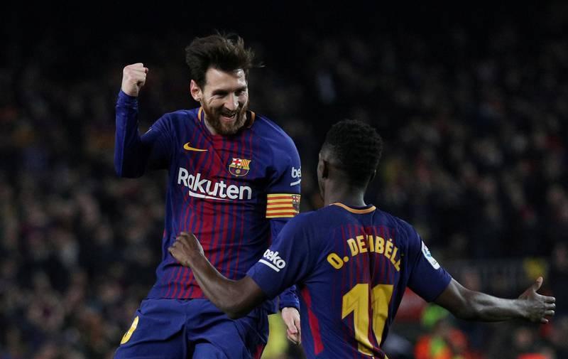 Soccer Football - La Liga Santander - FC Barcelona vs Girona - Camp Nou, Barcelona, Spain - February 24, 2018   Barcelona's Lionel Messi celebrates scoring their third goal with Ousmane Dembele    REUTERS/Sergio Perez     TPX IMAGES OF THE DAY
