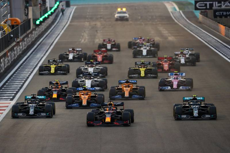 epa08881983 A handout photo made available by the FIA of Dutch Formula One driver Max Verstappen (C) of Aston Martin Red Bull Racing leading the pack on his way to win the Formula One Grand Prix of Abu Dhabi at Yas Marina Circuit in Abu Dhabi, United Arab Emirates, 13 December 2020.  EPA/FIA/F1 HANDOUT  HANDOUT EDITORIAL USE ONLY/NO SALES *** Local Caption *** BAHRAIN, BAHRAIN - NOVEMBER 26: <<enter caption here>> during previews ahead of the F1 Grand Prix of Bahrain at Bahrain International Circuit on November 26, 2020 in Bahrain, Bahrain. (Photo by Rudy Carezzevoli/Getty Images)