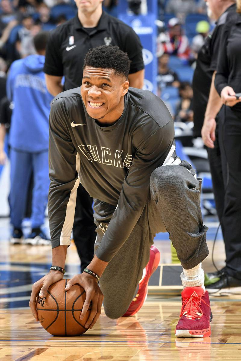 ORLANDO, FL - NOVEMBER 1: Giannis Antetokounmpo #34 of the Milwaukee Bucks looks on before the game during warmups on November 1, 2019 at Amway Center in Orlando, Florida. NOTE TO USER: User expressly acknowledges and agrees that, by downloading and or using this photograph, User is consenting to the terms and conditions of the Getty Images License Agreement. Mandatory Copyright Notice: Copyright 2019 NBAE   Fernando Medina/NBAE via Getty Images/AFP