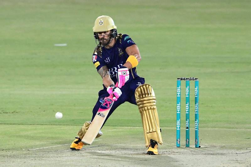 Quetta Gladiators' Faf du Plessis plays a shot during the Pakistan Super League (PSL) T20 cricket match between Islamabad United andQuetta Gladiators at the National Stadium in Karachi on March 2, 2021. (Photo by Asif HASSAN / AFP)