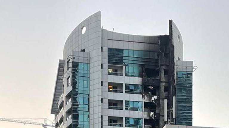 An image that illustrates this article Dubai fire crews tackle early morning blaze in Marina tower