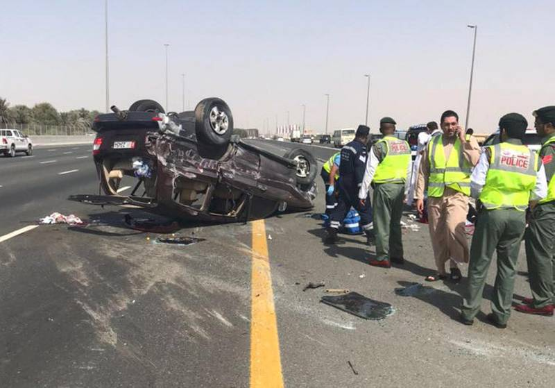 Teenage killed and five injured in car accident. Courtesy Dubai Police.