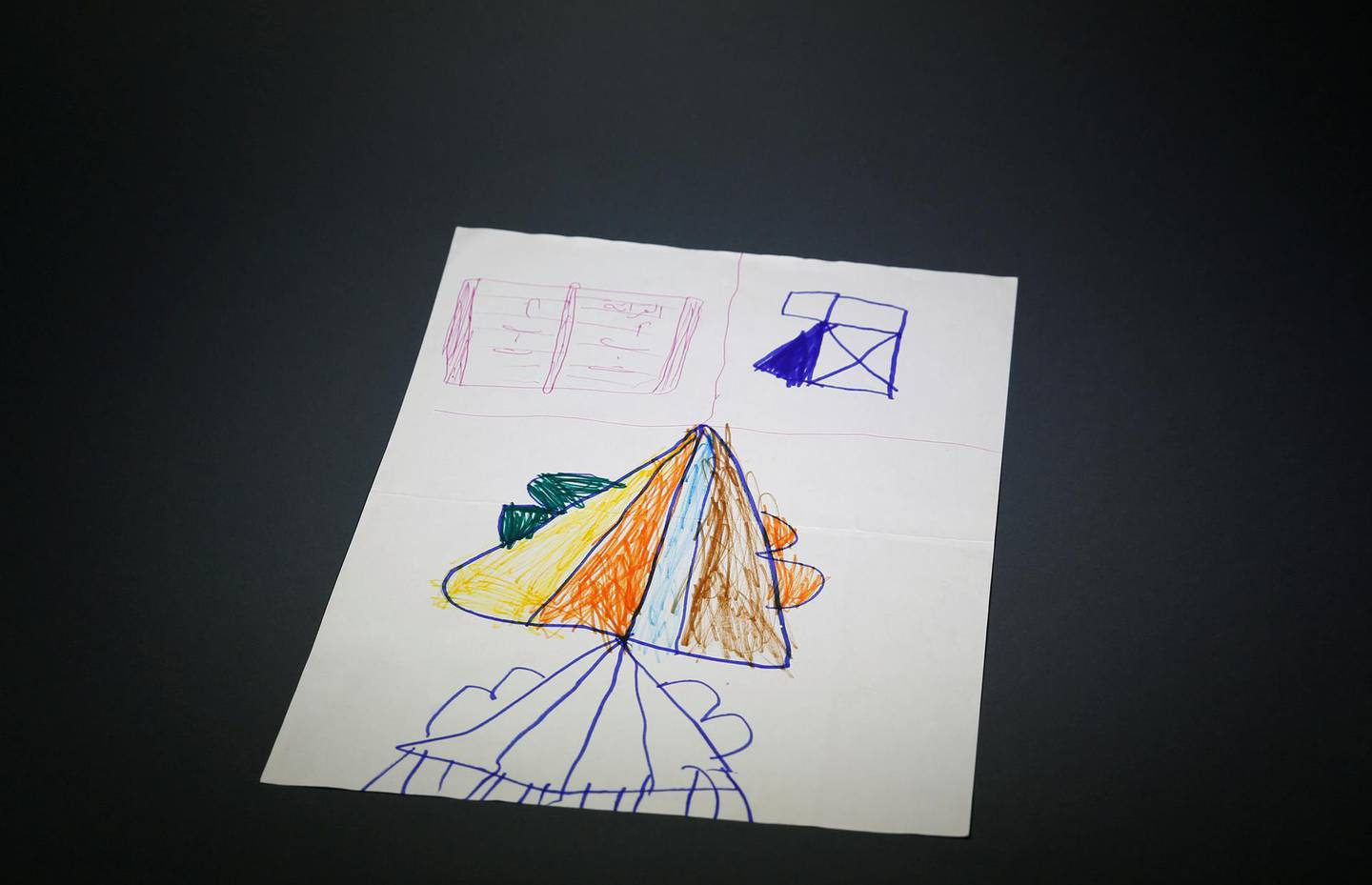 """A drawing of an aeroplane is seen at the War Childhood Museum before exhibition in Sarajevo, Bosnia and Herzegovina, January 25, 2019. """"I don't remember anything about Syria, as I was only two years old when we left. I made this drawing of an airplane that I will someday take to see Syria from the sky"""", said Mohamad who was born in 2011. Picture taken January 25, 2019. REUTERS/Dado Ruvic"""